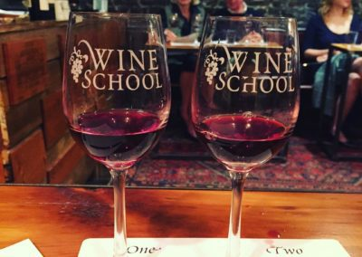 Wine Tasting Glasses at Front of Class