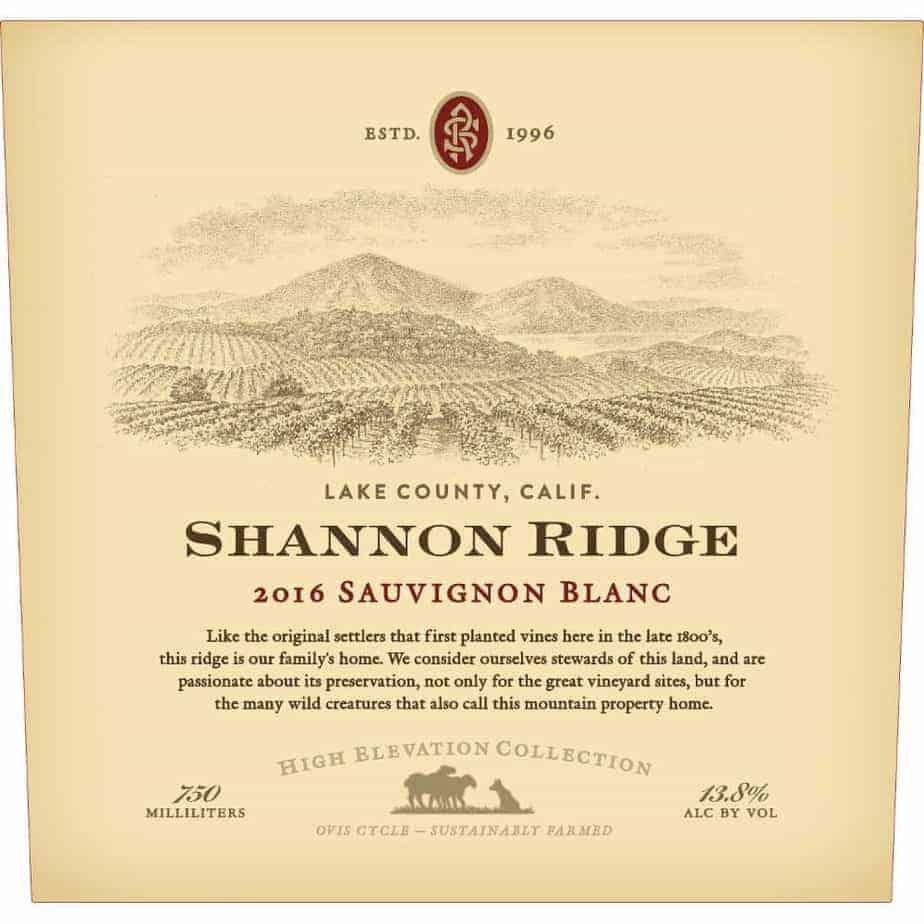 "Shannon Ridge 2016 ""High Elevation Collection"" Sauvignon Blanc Lake County (California)"