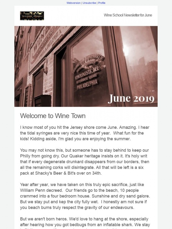 Wine School Newsletter for June 2019