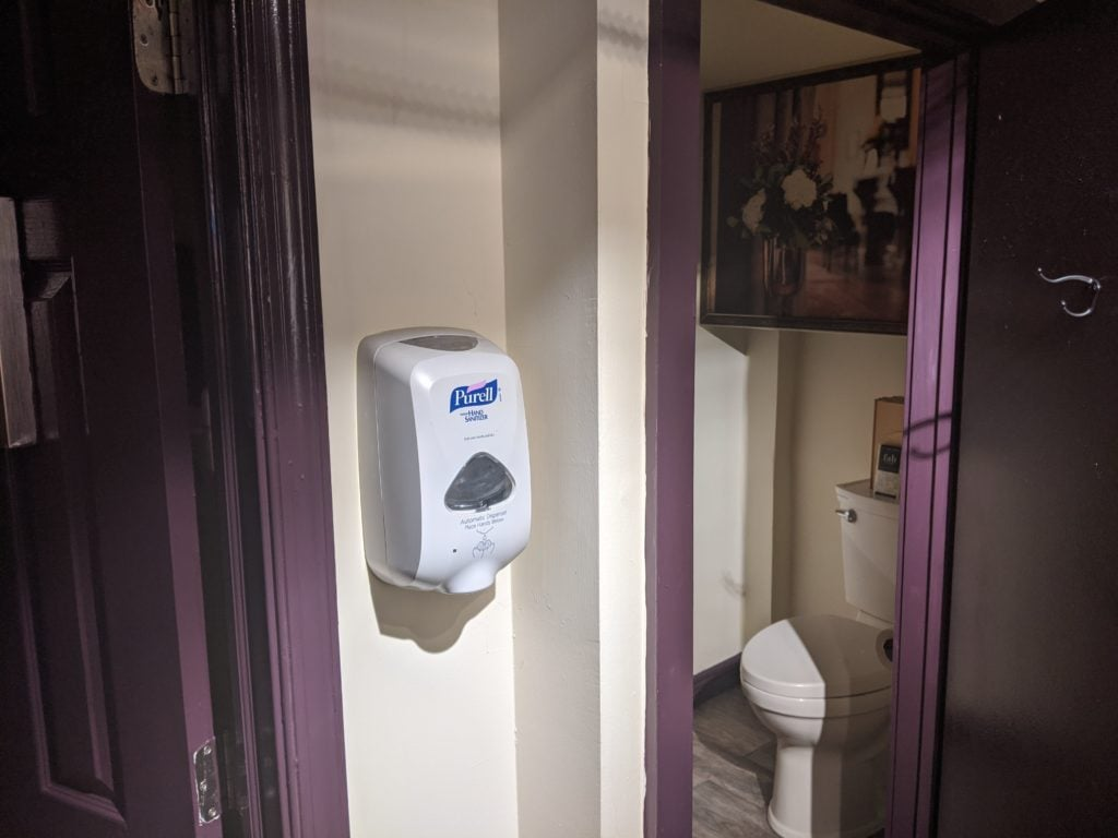 Purell Sanitizer Outside Bathrooms