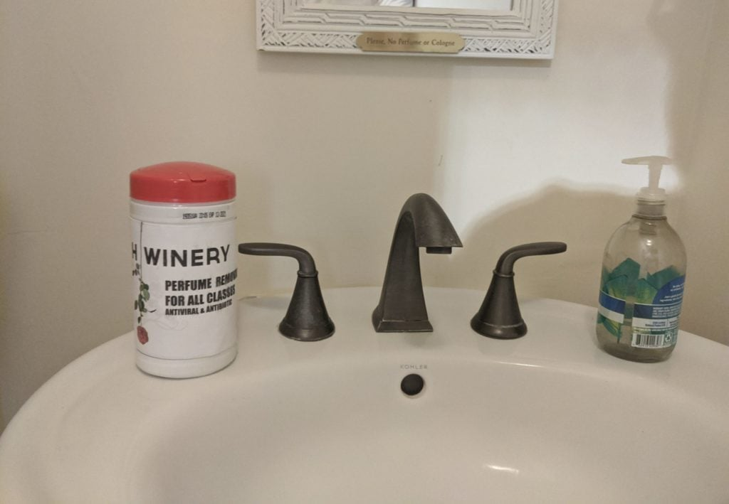 70% Alcohol Wipes in Bathroom
