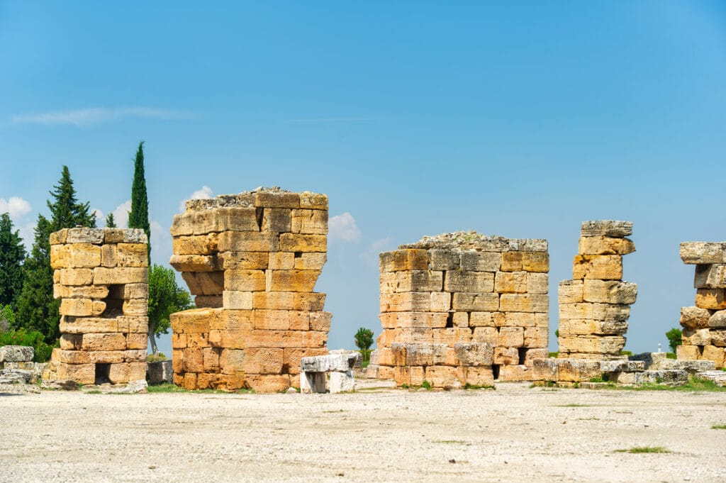 History of wine. The Ancient ruins of Hierapolis, in Pamukkale, Turkey.