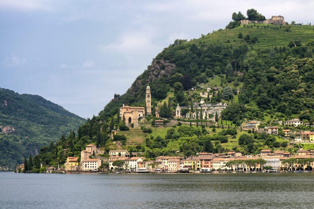 The Ceresio Lake (Ticino, Switzerland)), landscape at summer. Church of Santa Maria del Sasso