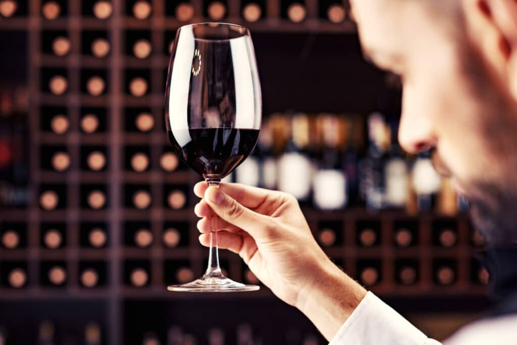 close-up shot of young handsome sommelier tasting red wine in cellar