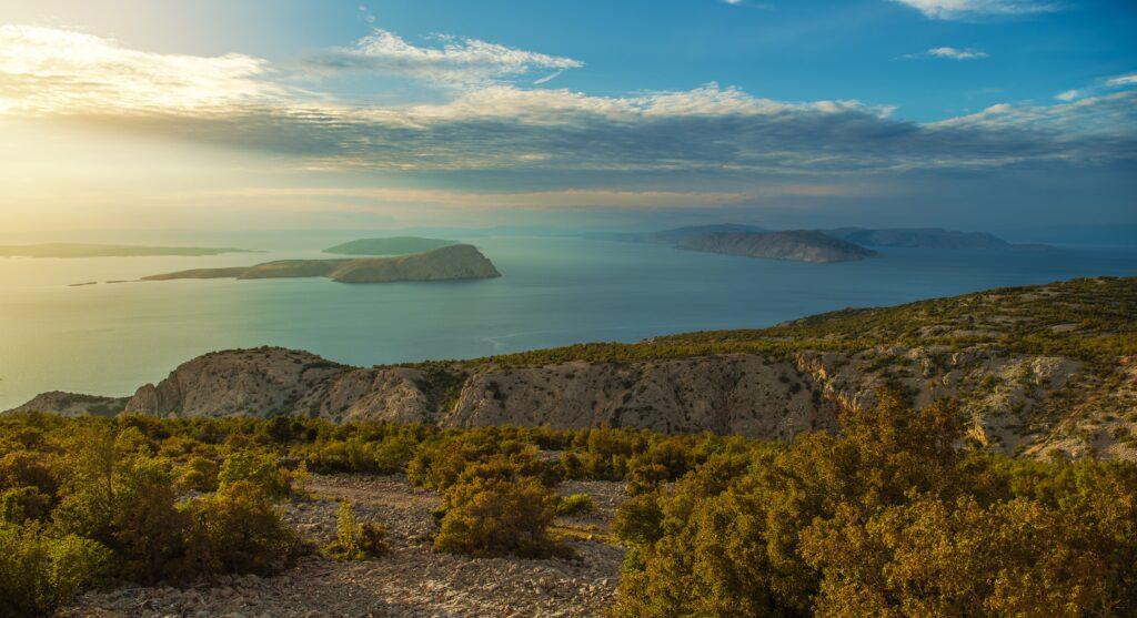 Croatian Scenic Landscape During Sunset. Northwest Croatia. Adriatic Sea.