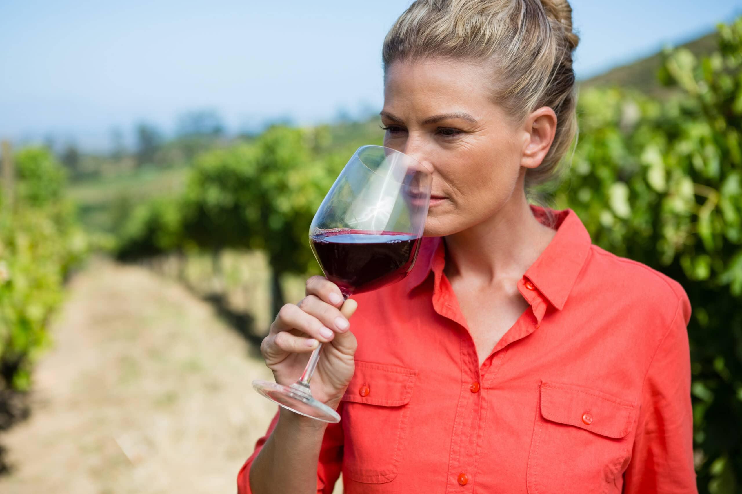 Female vintner smelling glass of wine in vineyard
