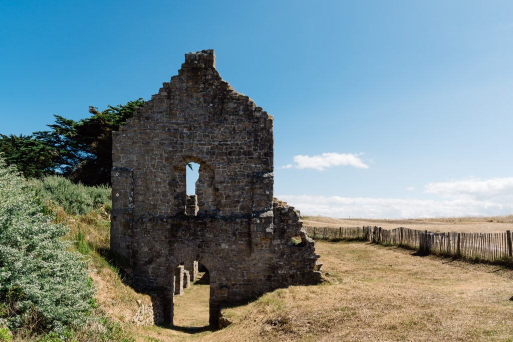 Ruins of old chapel in the Island of Batz a sunny day of summer