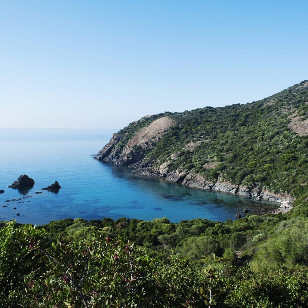 Panoramic view of beach Managu, Sardinia, selective focus and square image