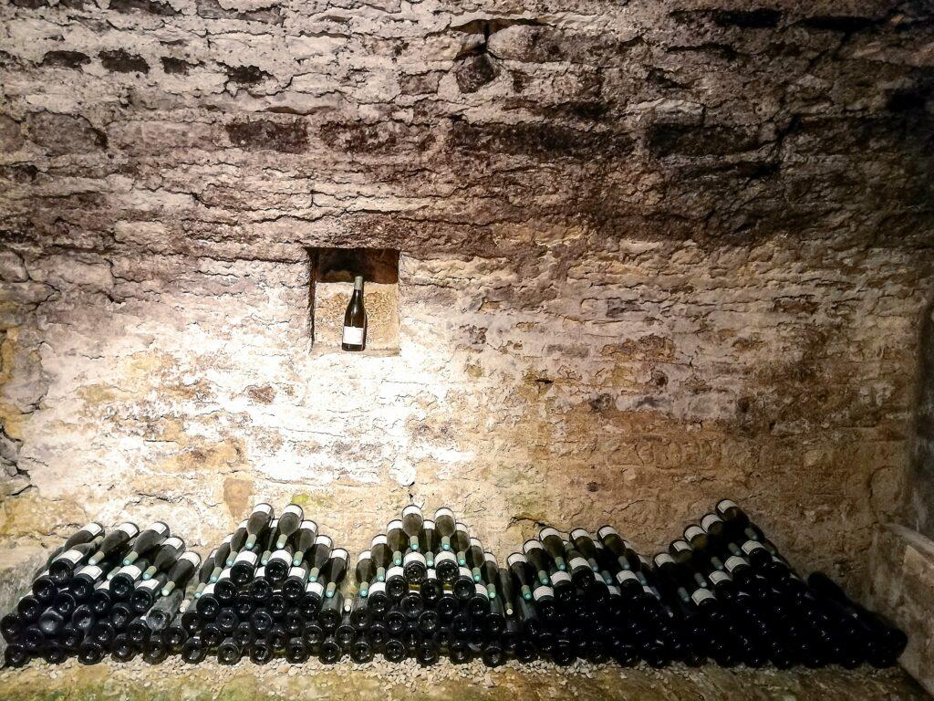 Cru Beaujolais in wine cellar