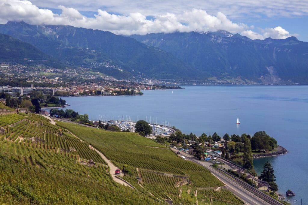 Vineyards and the city of Lausanne on the north shore of Lake Geneva in the La Cote wine-producing area of the Vaud canton of Switzerland.