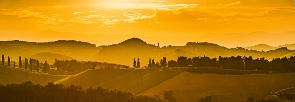 Gamlitz, Leibnitz, Styria , Austria - Vineyards Sulztal area south Styria, wine country, street tourist spot