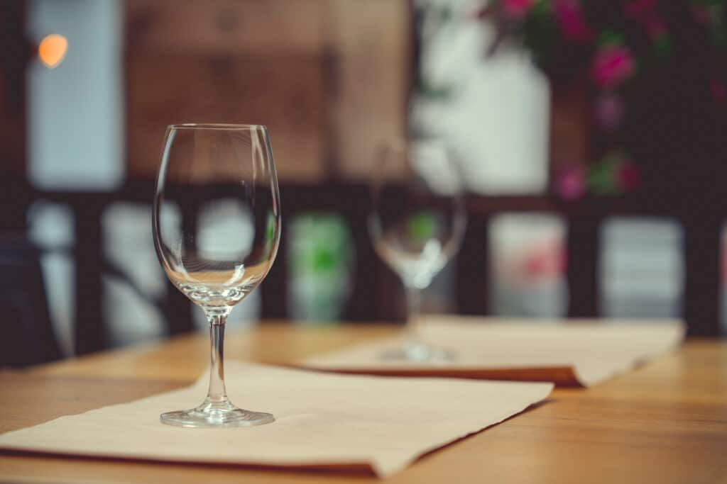 Wine glasses in the restaurant