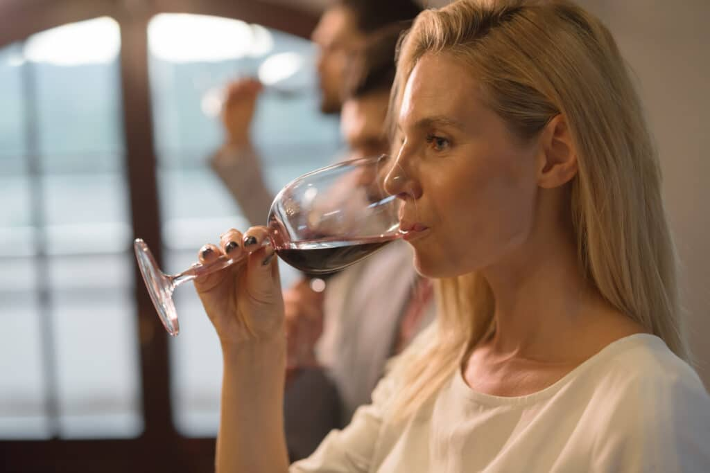 Wine tasting event with people degustating wines